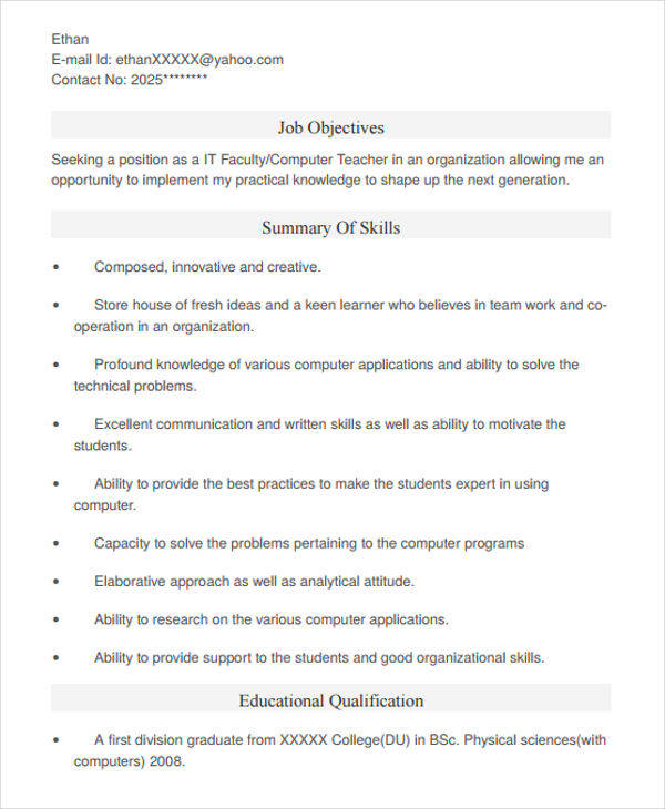 42 teacher resume formats