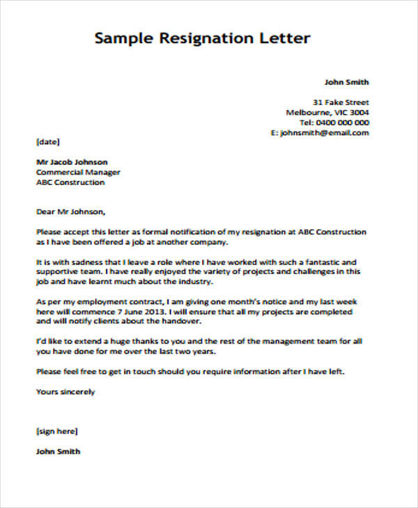 construction company resignation letter