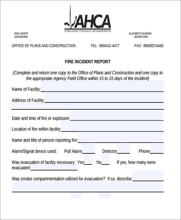 construction fire incident report