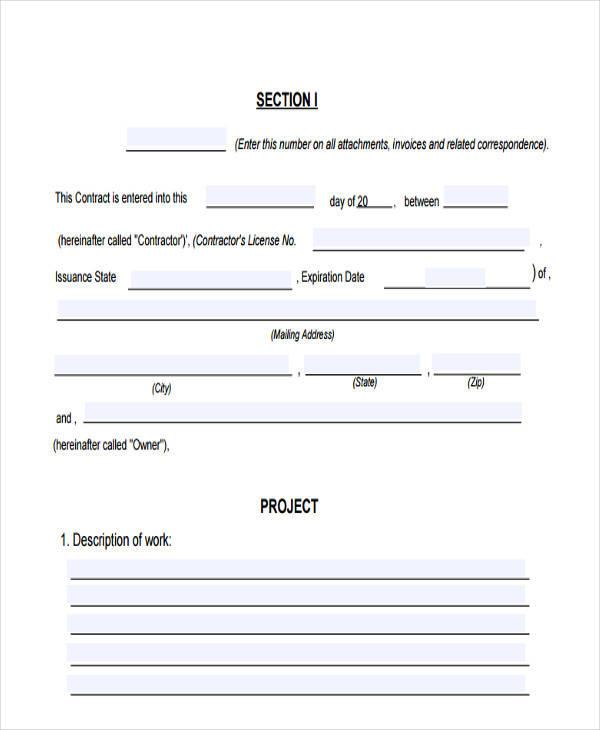construction work invoice