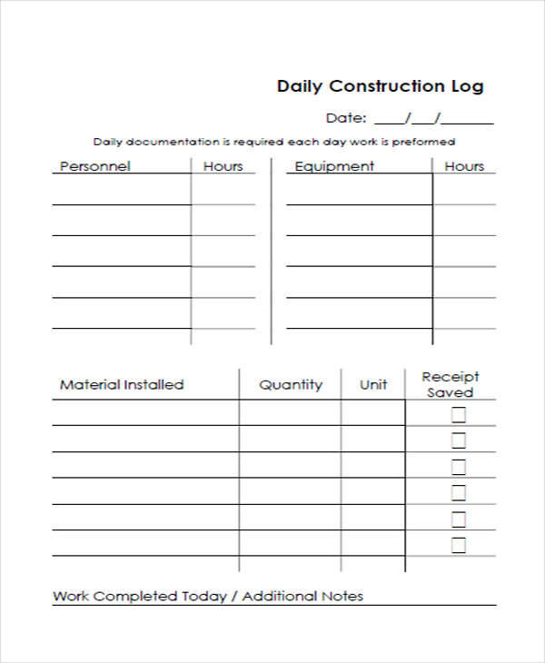 31 Sample Daily Log Templates In Pdf Doc