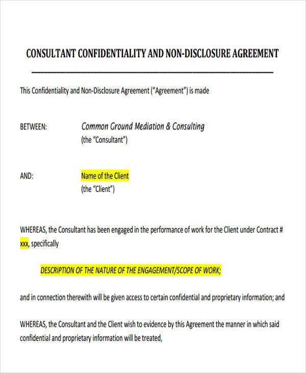 consultant client confidentiality agreement