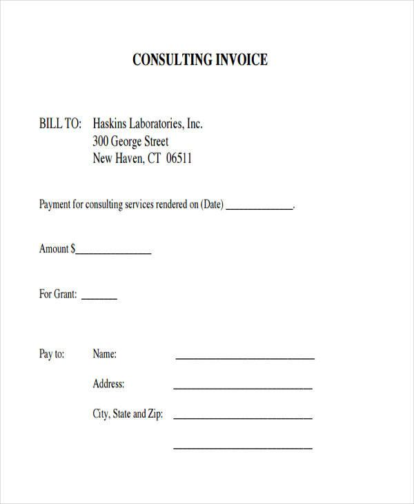 consulting service invoice