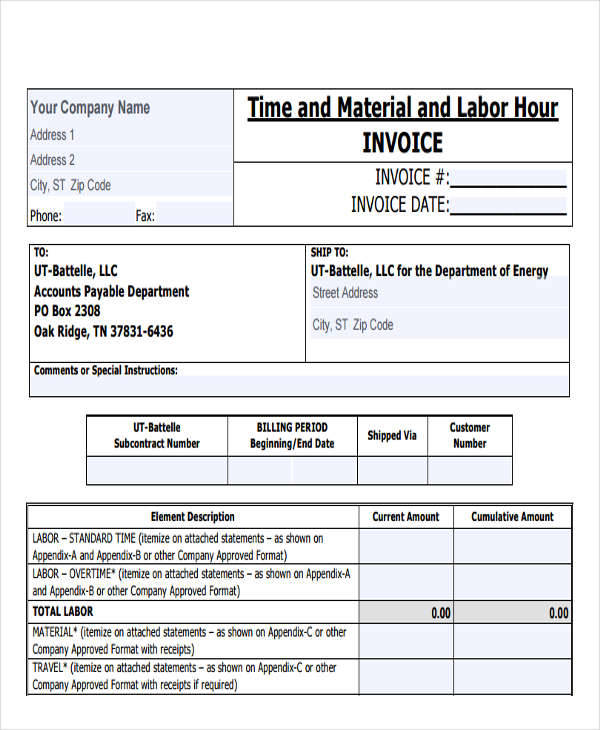 contractor labour invoice