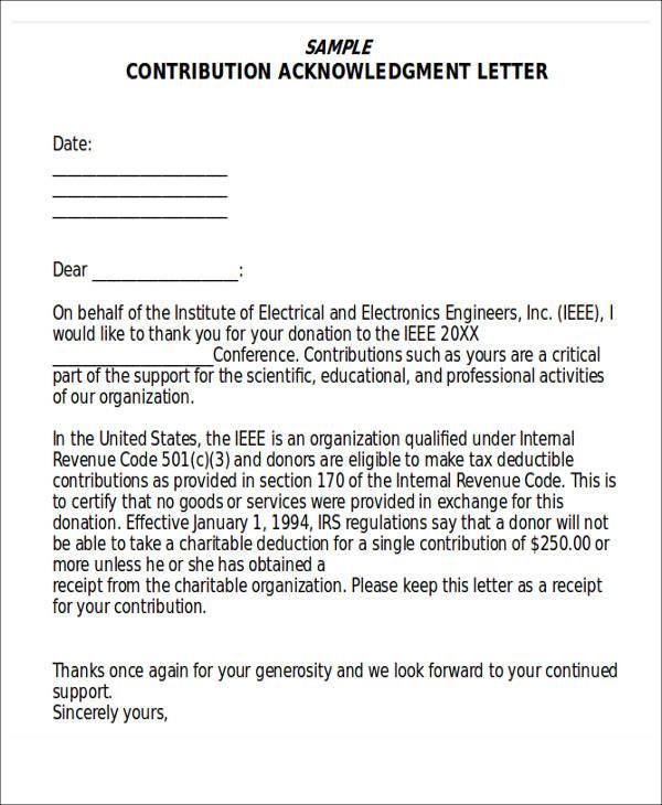 contribution acknowledgement letter