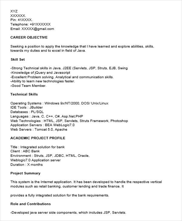Core Java Fresher Resume