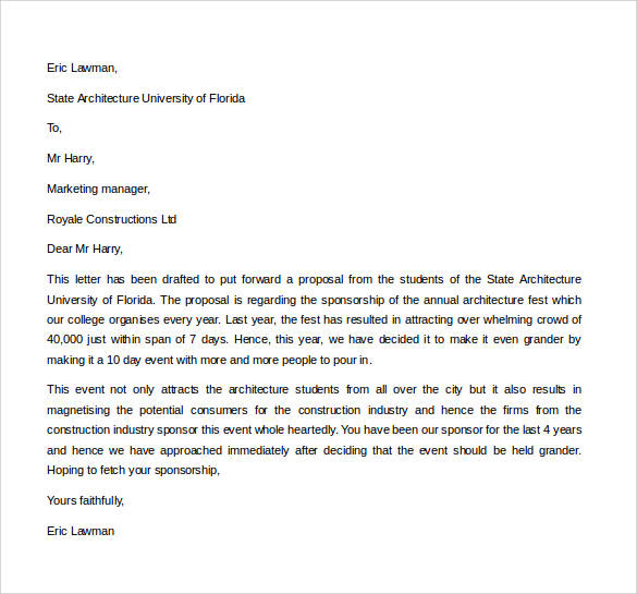 corporate business proposal letter - Business Proposal Letter