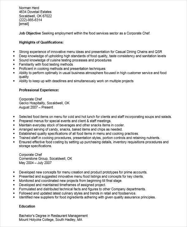corporate chef resume
