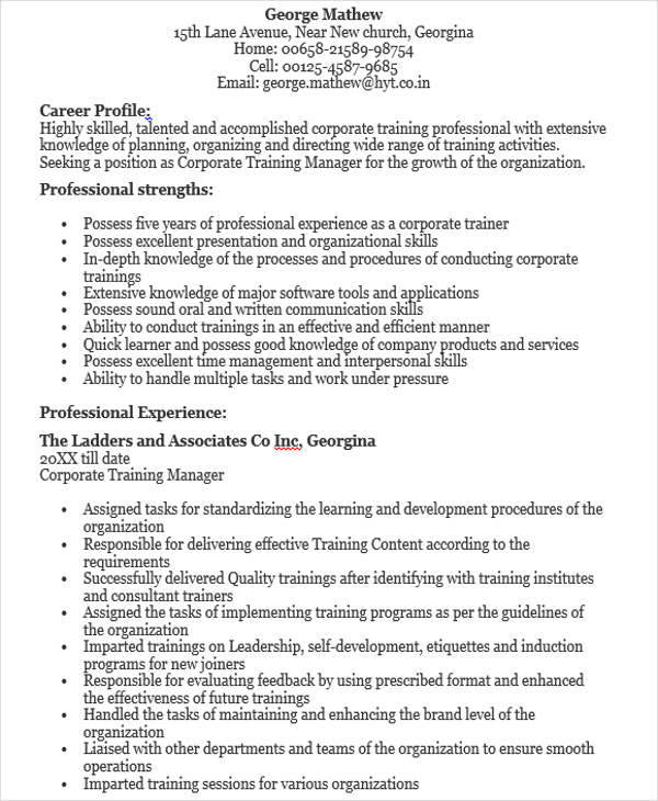 45 manager resume sles