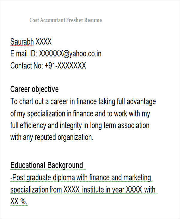 cost accountant fresher resume