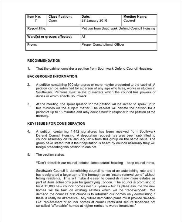 council housing petition