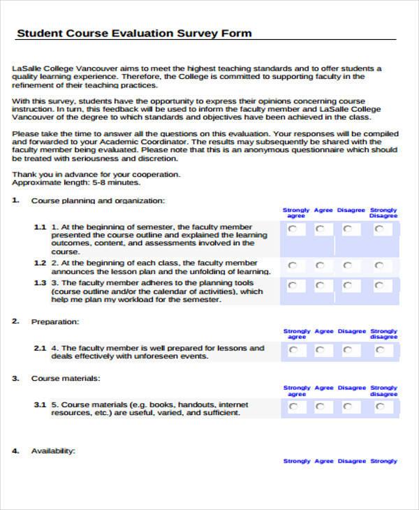 course evaluation survey form