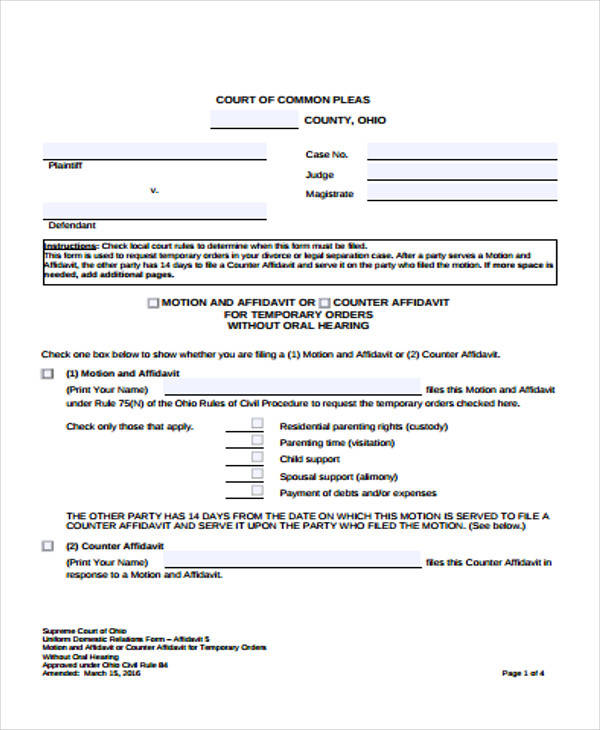 court counter affidavit form