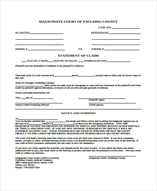 court statement of claim form