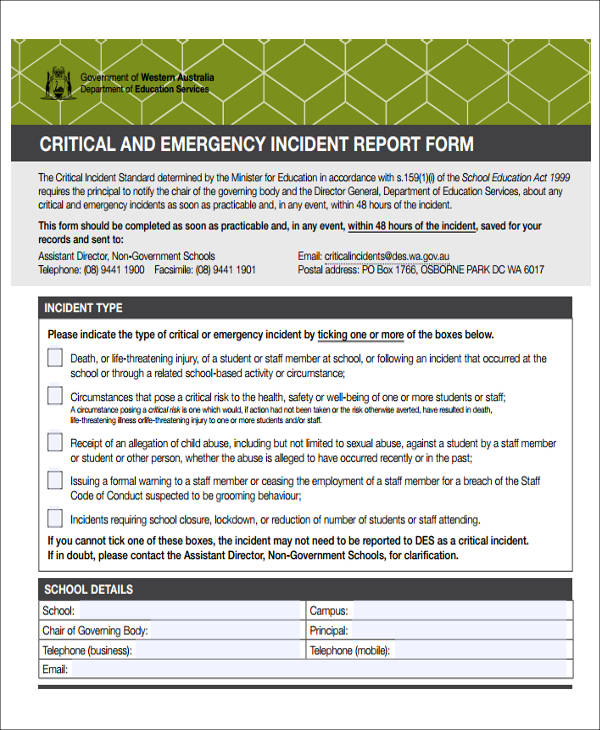 critical emergency incident report form