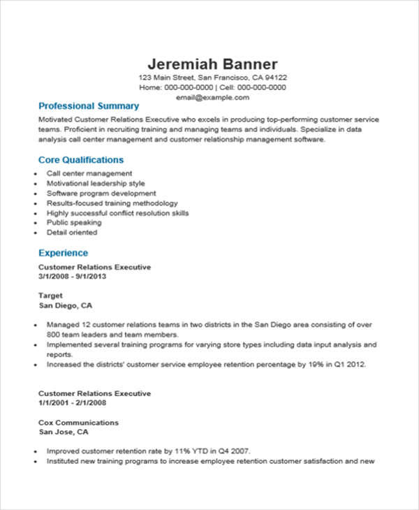 customer relations executive resume
