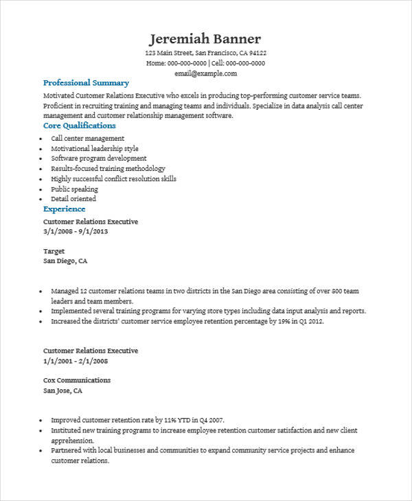 28 customer relationship executive resume client