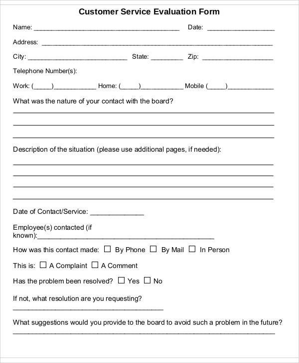 customer service evaluation form
