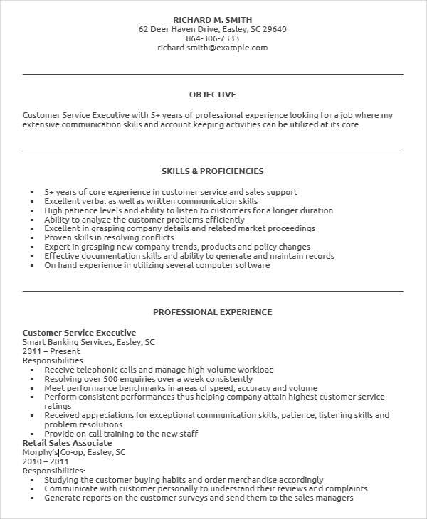 customer service executive resume - Customer Support Executive Resume