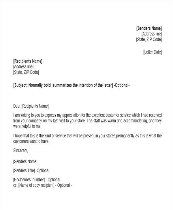 letter appreciation customer service 31 sample service letters 18469 | Customer Service Recognition Letter