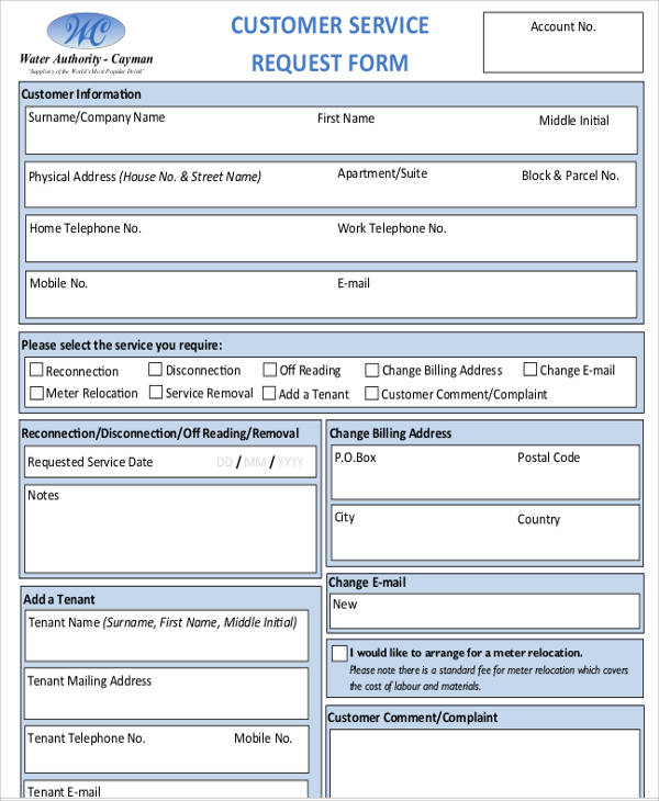 customer service request form