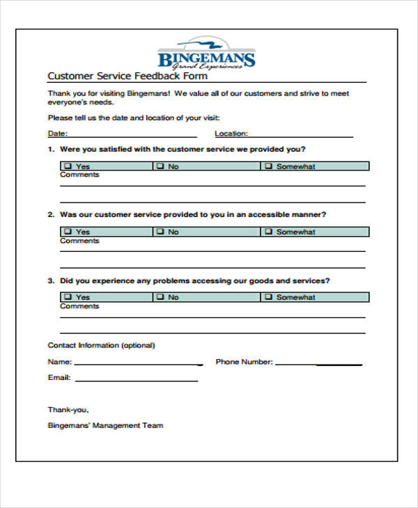 Customer Service Forms - Best Service 2017