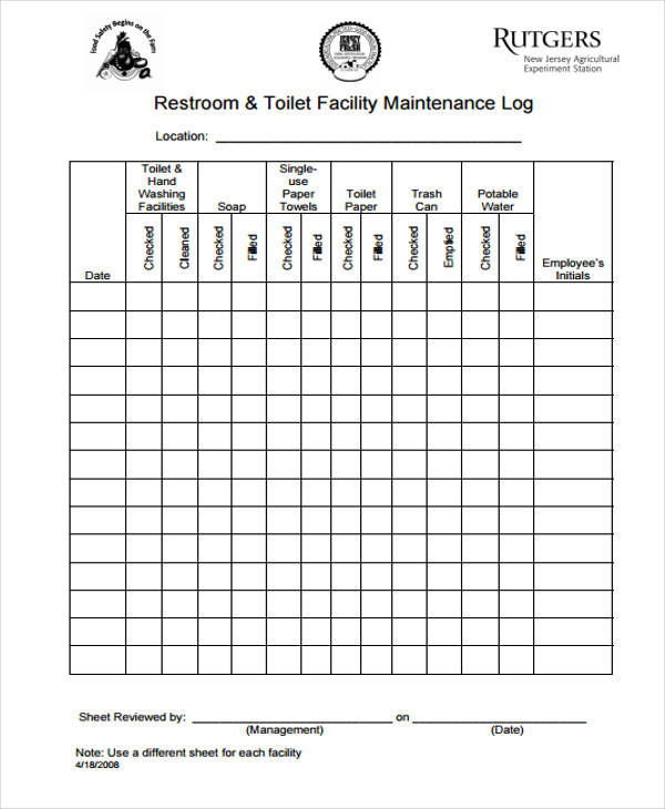 daily cleaning log template 31 Daily Log Templates