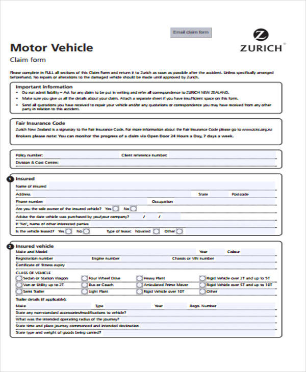 damage to vehicle claim form