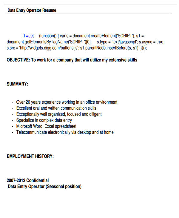 data entry operator resume format