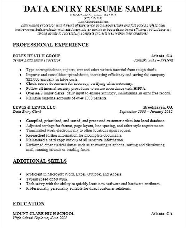 sle resume data entry 28 images data entry resume sle