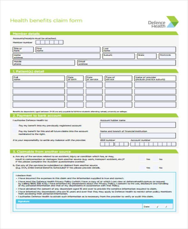 defence health claim form