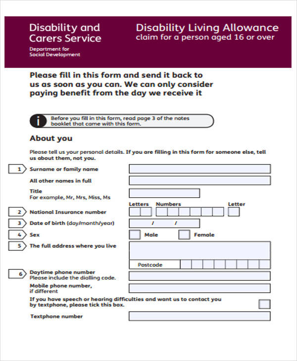 Sample Claim Forms