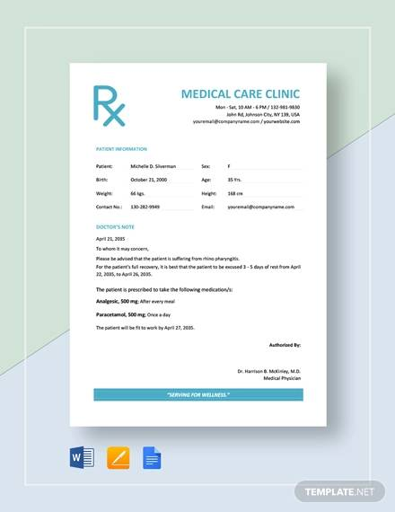 doctor excuse note template