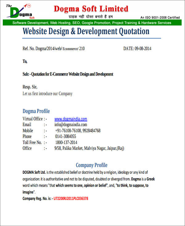 Website Quotation Samples