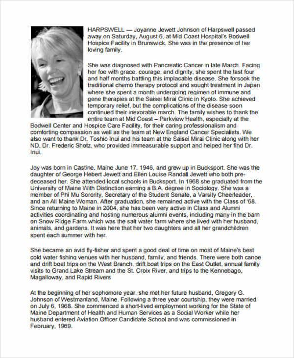 36 printable obituary