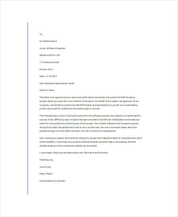 employee appreciation letter format