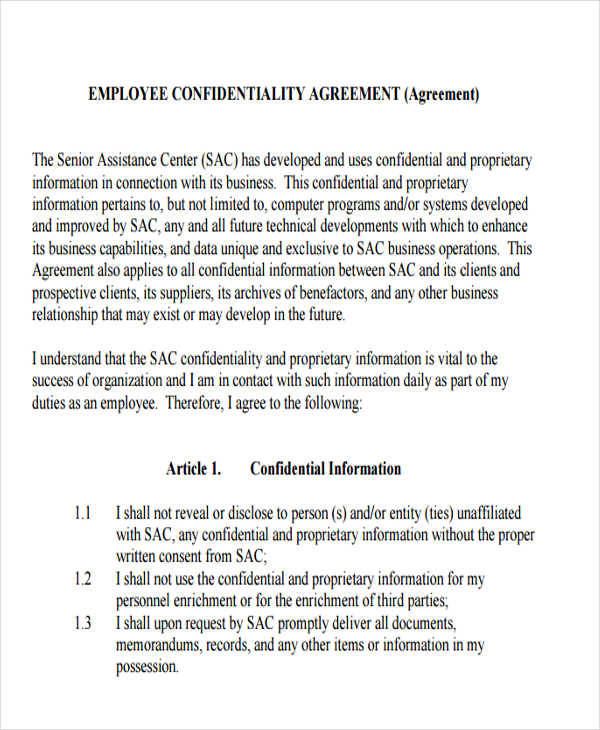 employee client confidentiality agreement