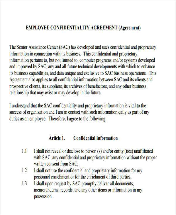 employee client confidentiality