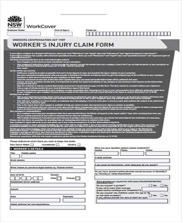 employee injury claim form