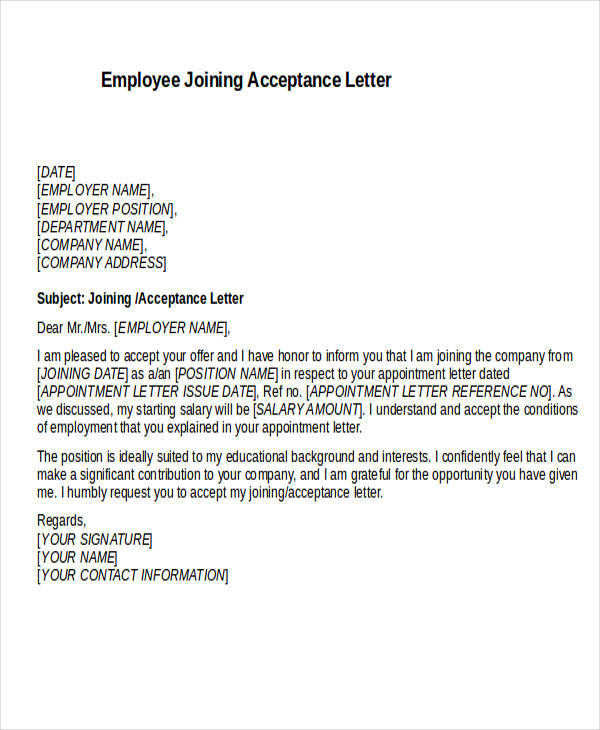 employee joining acceptance letter
