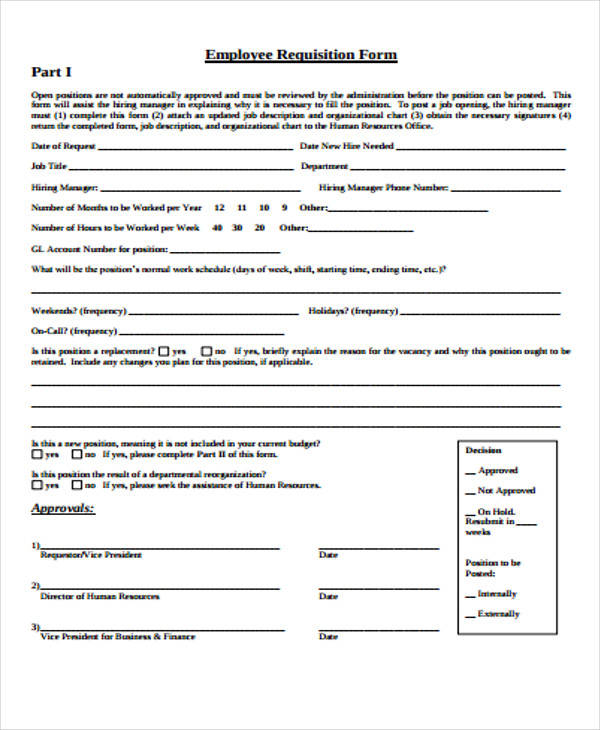 Employee Requisition Form Sample