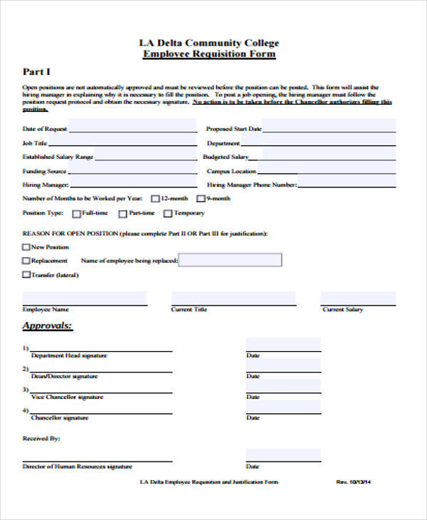 employee requisition form