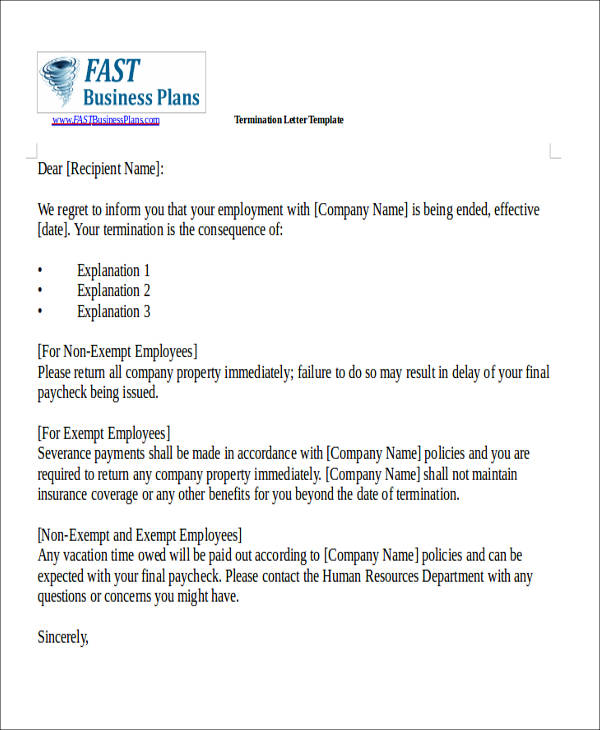 80 sample letters sample templates employee termination letter spiritdancerdesigns Choice Image