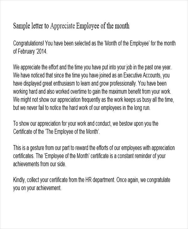 employee of the month recognition letter sample Parlobuenacocinaco