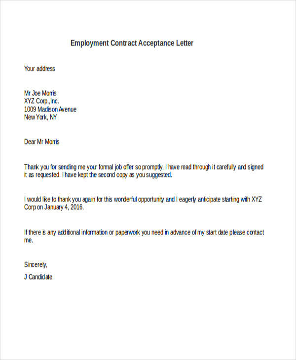 employment contract acceptance letter