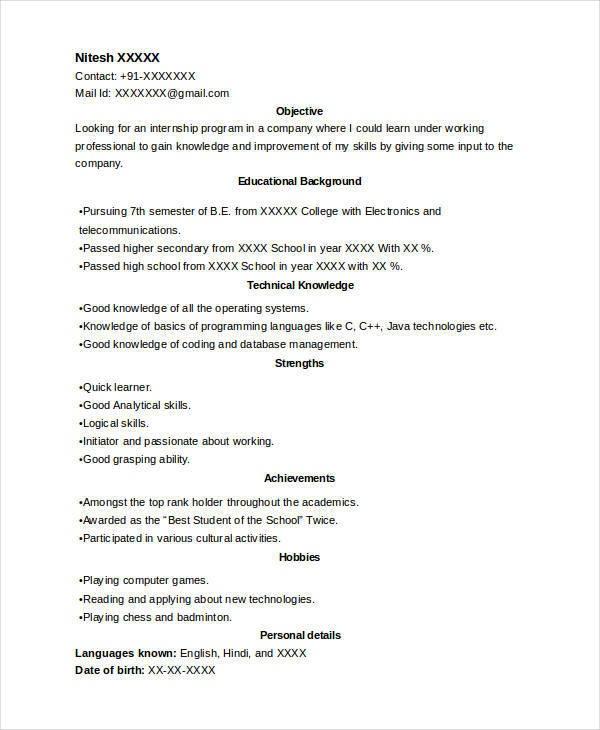 intern resume template download format internship and maker word doc