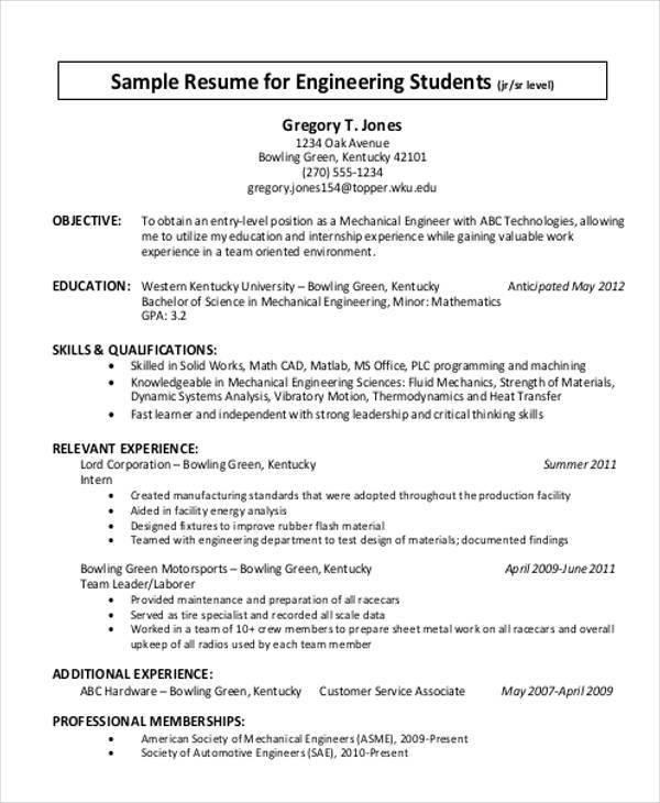 engineering student resume format