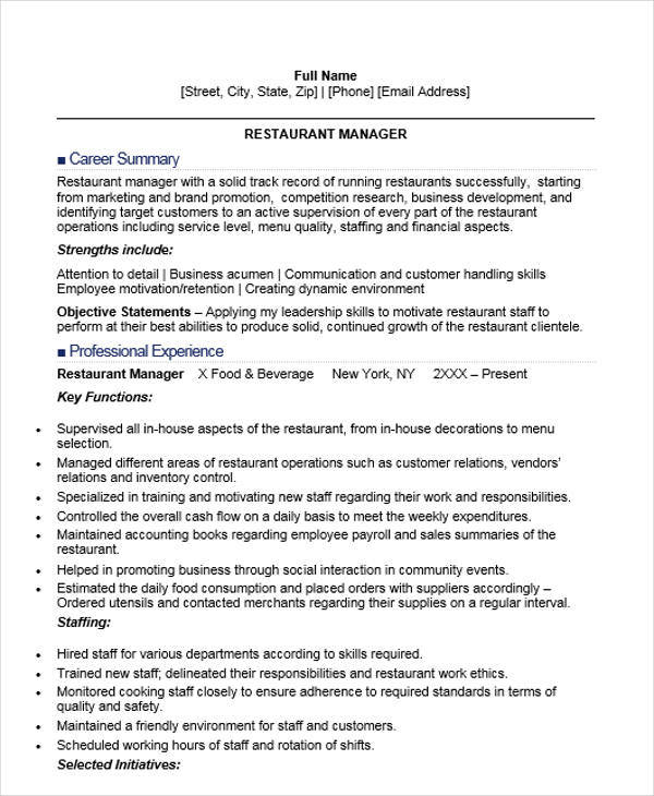 44  manager resume samples