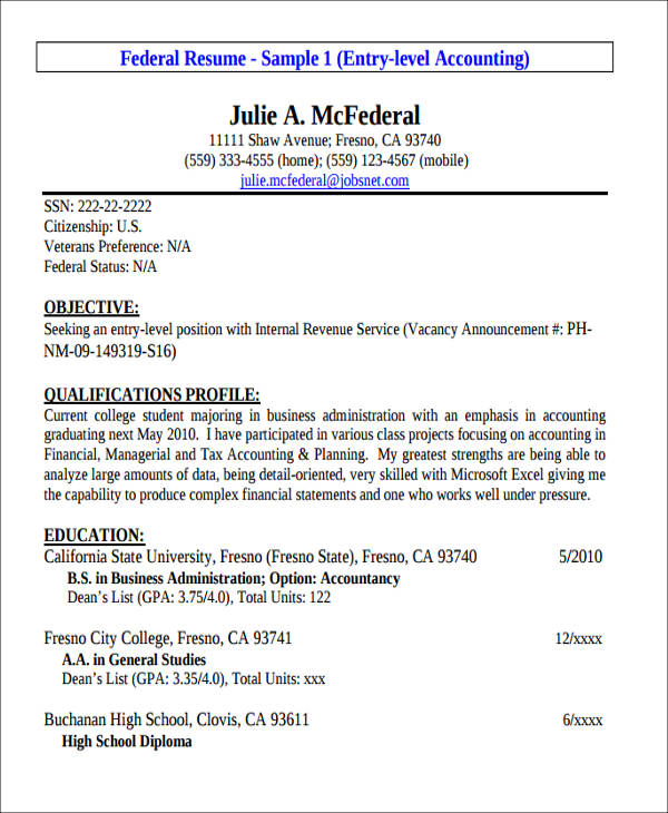 100 entry level accounting resumes recent graduate