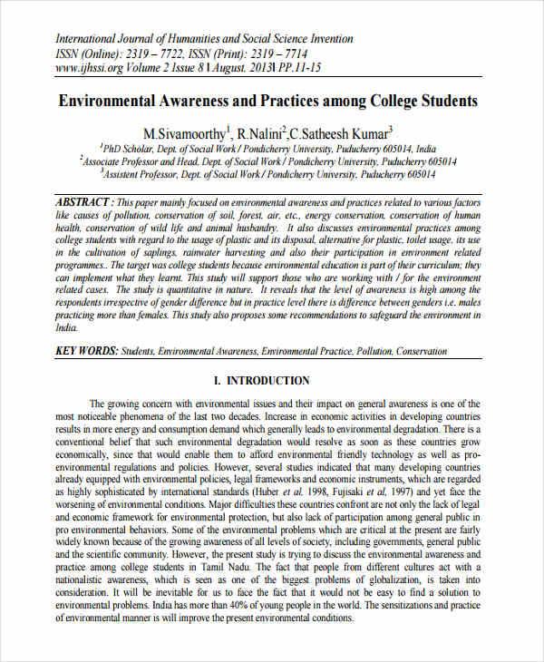 environmental awareness research